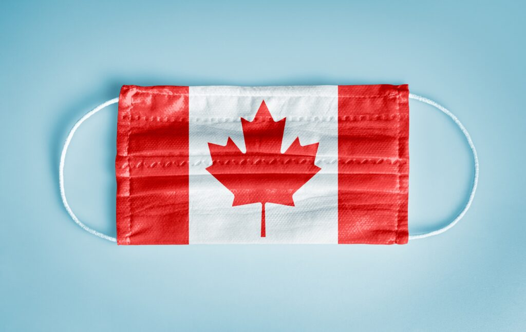 Covid 19 mask with Canadian flag