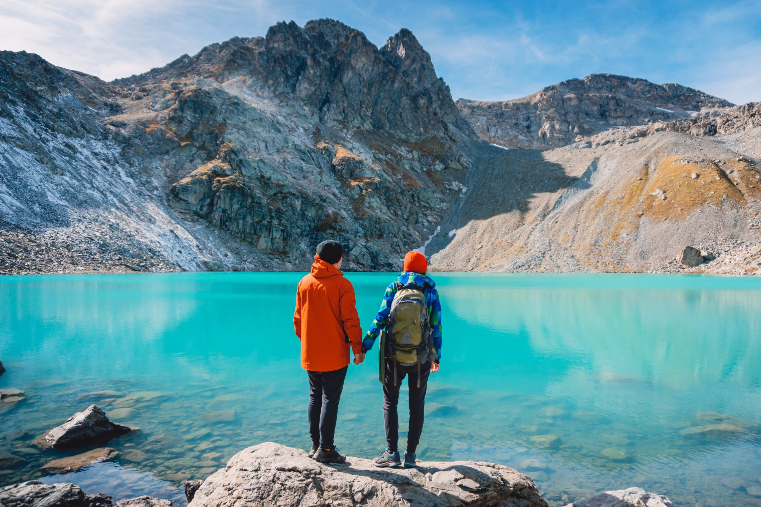 Couple staring at lake in Canada
