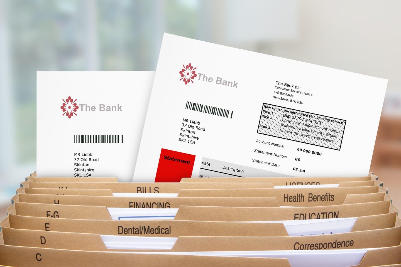 Bank statements in folder