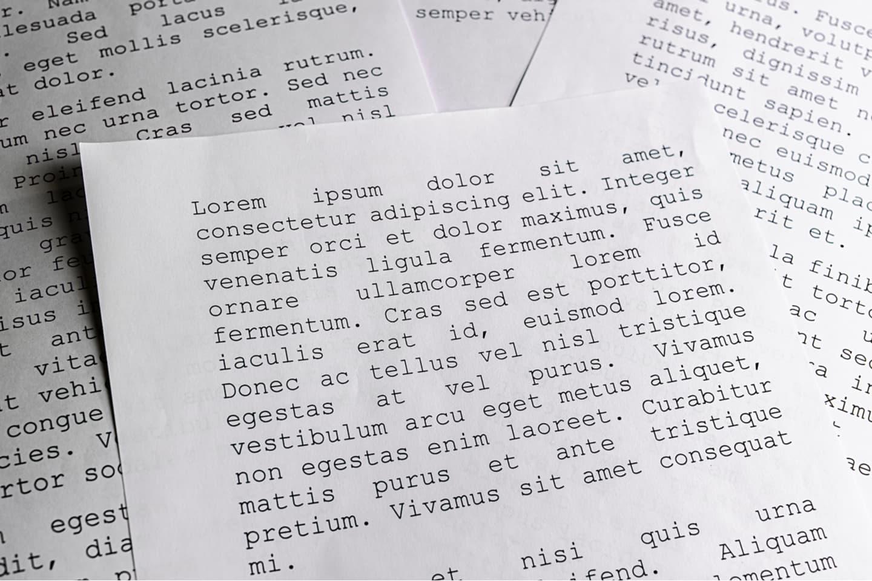 Documents with gibberish